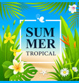 summer sale tropical flower and green leaf vector image