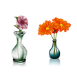 two vases with flowers vector image vector image