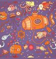 underwater doodle seamless pattern vector image vector image