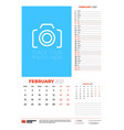 wall calendar planner template for february 2021 vector image vector image