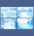 winter nature with snowing weather landscapes vector image