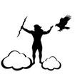 zeus jupiter god eagle silhouette ancient vector image vector image