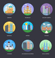 pack of world cities 14 vector image
