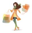 Shopping Day girl in spring vector image