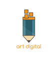 art digital flat design template with pencil vector image