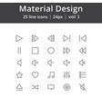 material design play line icons vector image