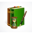 old book and sand glass pen vector image