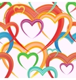 Seamless background of watercolor hearts vector image