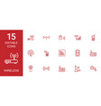 15 wireless icons vector image vector image