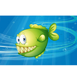 A green fish under the sea vector image vector image