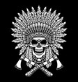 american indian chief skull with crossed tomahawks vector image vector image