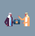 arabic businessman hold case padlock security gdpr vector image vector image