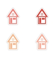 assembly realistic sticker design on paper houses vector image vector image