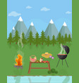 barbecue picnic in the mountains green nature vector image vector image