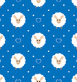 blue seamless pattern with cute sheep and hearts vector image vector image