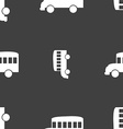 Bus icon sign Seamless pattern on a gray vector image