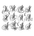 calligraphy lettering script font h set hand vector image