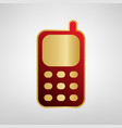 cell phone sign red icon on gold sticker vector image vector image