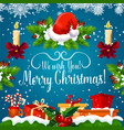 christmas gift and new year garland greeting card vector image vector image