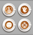 colored latte art top view icon set vector image vector image