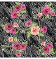 Dark stylish animal pattern with roses vector image vector image