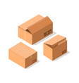 delivery cardboard boxes icon set vector image