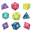 dice and polyhedron for fantasy rpg table top vector image