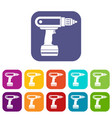 electric screwdriver drill icons set flat vector image vector image