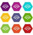 fan icon set color hexahedron vector image vector image