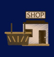flat icon in shading style shop basket vector image vector image