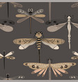 folk art seamless pattern with dragonflies vector image vector image