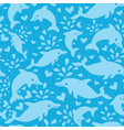 Fun blue dolphins seamless pattern background vector image
