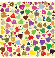 hearts diferent colors round background template vector image vector image