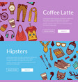 hipster doodle icons horizontal banners vector image vector image