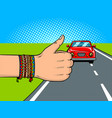 hitchhiking pop art vector image vector image