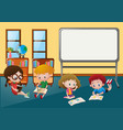 kids learning in classroom vector image vector image
