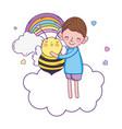 little boy with bee kawaii character vector image vector image