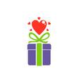 love heart gift valentine logo vector image