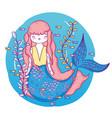 mermaid woman with plants leaves underwater vector image vector image