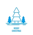 Merry Christmas concept with trees in outline vector image vector image
