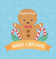 merry merry christmas card with ginger cookie vector image