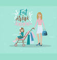 mother and her baby shopping with vector image