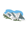 mountain preaks blue sky and trees one vector image
