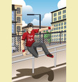 parkour athlete jumping over a handrail vector image