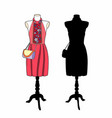 pink dress on mannequin vector image vector image