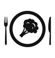 Plate with piece of broccoli icon vector image vector image