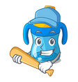 playing baseball character baby training cup with vector image