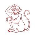 Red monkeyChinese zodiac signLinear vector image vector image