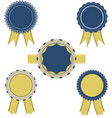 Retro blue and yellow color set of ribbon banner vector image