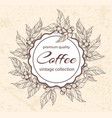 round floral frame with coffee plants vector image vector image